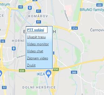 DComPTT umožňuje volat uživatele nebo skupiny uživatelů přímo z mapy