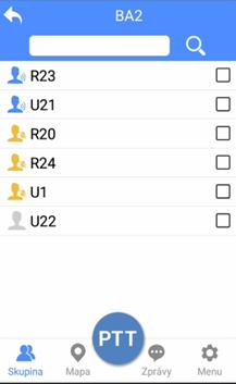 PoC aplikace DComPTT umožňuje vybrat skupinu uživatelů