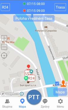 PoC aplikace DComPTT podporuje i práci s mapami